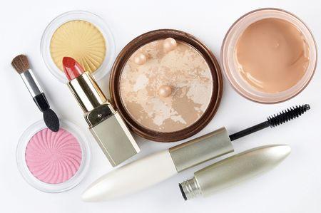 Cosmetics on the white background photo