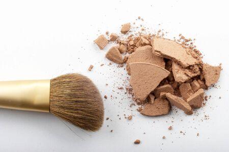 powder brush on the white background Stock Photo