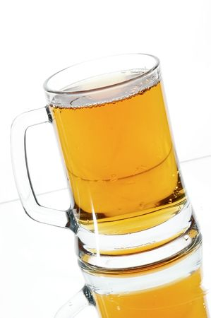 Beer in glass on the white background Stock Photo