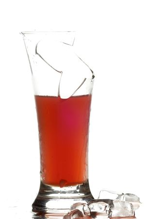 glass with juice on the white background photo