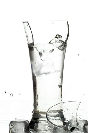 glass with water on the white background photo