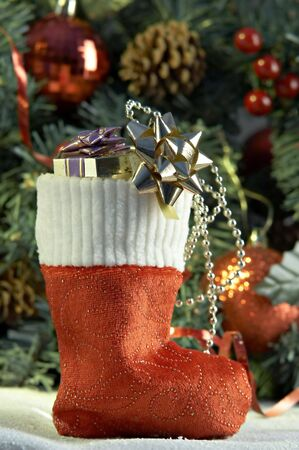 Cristmas stocking with presents in front of fir tree Stock Photo - 2083284