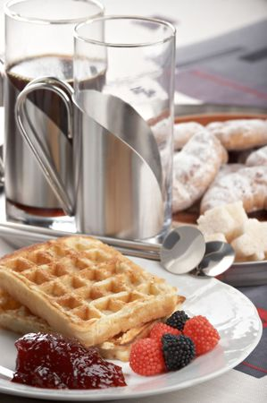 sugary: breakfast with waffle and jam on the plate