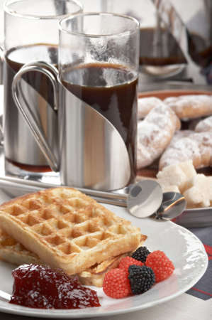 breakfast with waffle and jam on the plate Stock Photo - 2130187