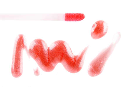 red lipstick on the white background