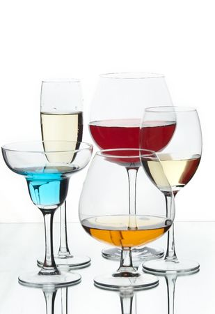Still life with glasses with drink on the white background
