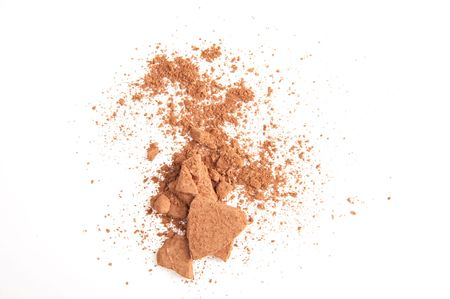 brown powder on the white background