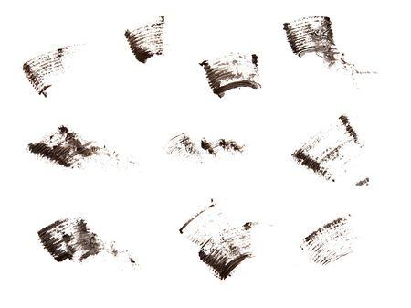 eyemakeup: track of mascara on the white background Stock Photo