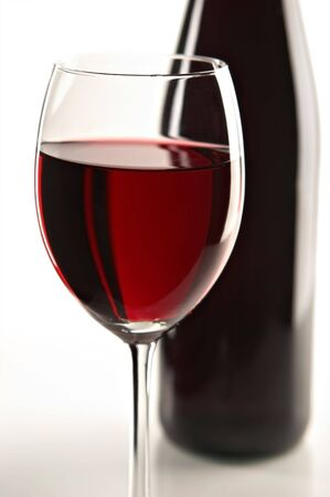 pervaded: still life with red wine on the white background Stock Photo