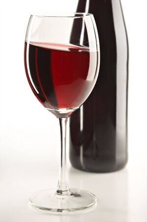 still life with red wine on the white background Stock Photo