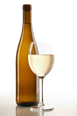 pervaded: still life with white wine on the white background