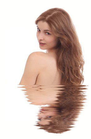 Young beautiful woman on the white background photo