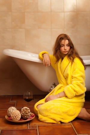 Young beautiful woman in the retro bathroom Stock Photo - 4279217