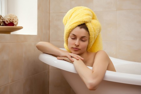 Young beautiful woman in the retro bathroom Stock Photo - 4413113