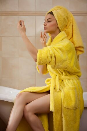 Young beautiful woman in the retro bathroom Stock Photo - 4443825
