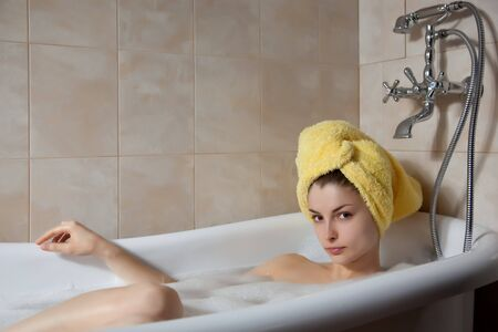 Young beautiful woman in the retro bathroom Stock Photo - 4473962