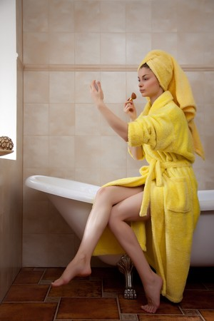 Young beautiful woman in the retro bathroom Stock Photo - 4473964