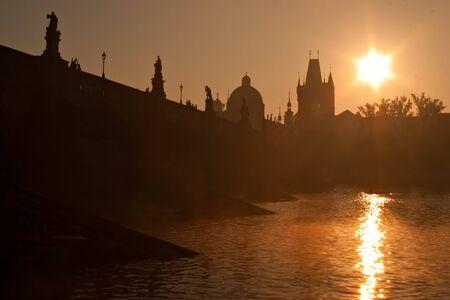 statuary: Charles Bridge on Prague in Czech Republic, morning