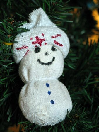 christmas sock: Hand-made snowman sock puppet Christmas ornament
