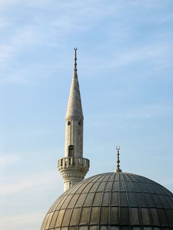 Minaret and Dome of a local small neighborhood mosque in Istanbul Stock fotó