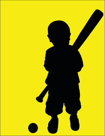 A toddler playing ball, vector silhouette on yellow