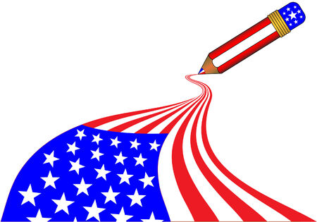American flag being drawn in one stroke by a magic pencil Stock Vector - 2087306