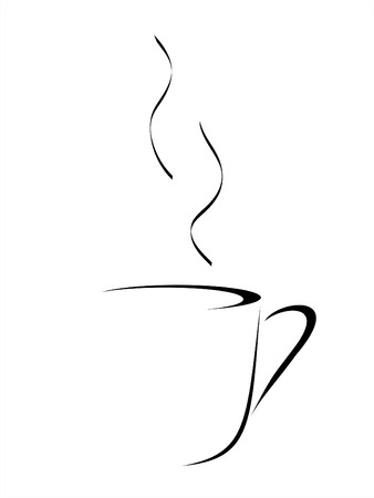 Abstract vector drawing of a cup of coffee or tea with steam