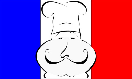 fine cuisine: stylized or abstract Chef with hat in front of a French flag Illustration