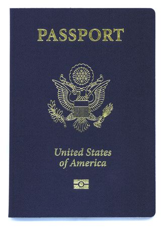 overseas visa: a brand new type US passport with ID chip Stock Photo