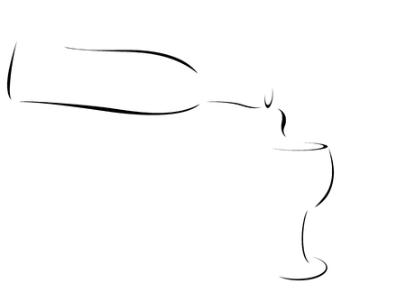 Abstract or Stylized of wine being poured into a wineglass 일러스트