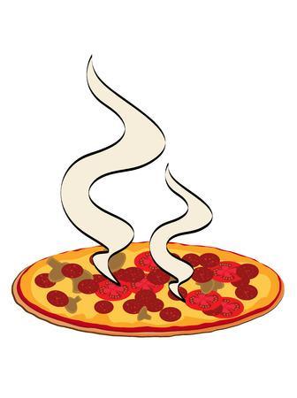 蒸気の 2 つのカールとピザ イラスト
