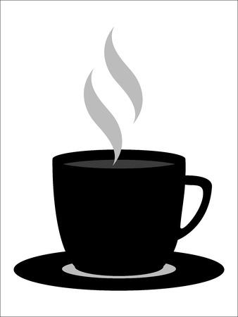 pul ans schotel koffie met stoom in zwart en wit