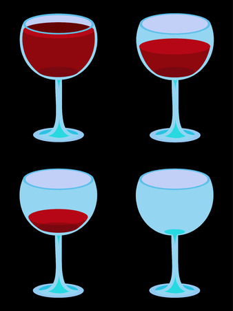 Vector illustration of four glasses of wine from full to empty