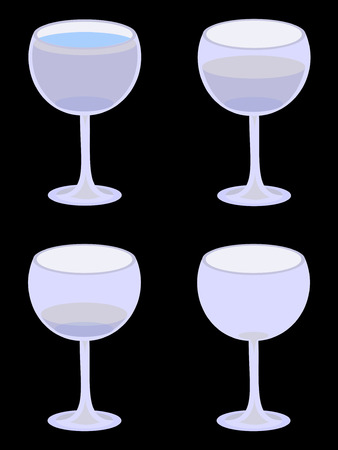 Four vector water glasses, from full to empty