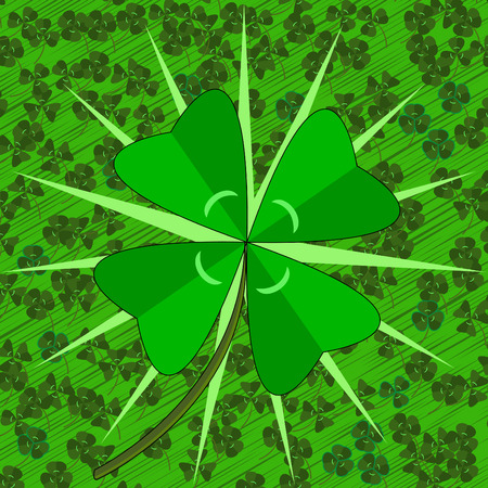 leaved: vector - lucky four leaf clover on a field of normal clover