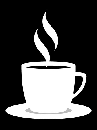 cup of coffee with steam in black and white