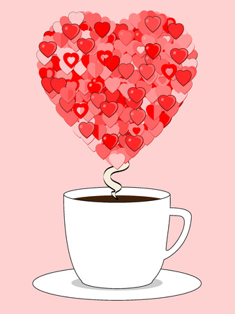 Vector Coffee cup with steam curling up into a heart made of many types of small hearts