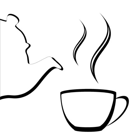 Vector of an Abstract or Stylized teapot and teacup with steam Ilustração
