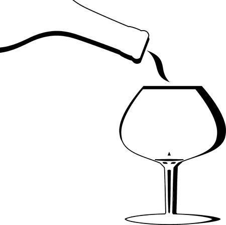 brandy: Vector Abstract or stylized Brandy or Port being poured into a snifter Illustration