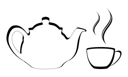 Vector van een gestileerde theepot met stomende kopje thee of koffie Stock Illustratie
