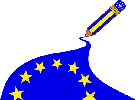 魔法の鉛筆によって 1 つのストロークで描画されている欧州連合の旗  イラスト・ベクター素材
