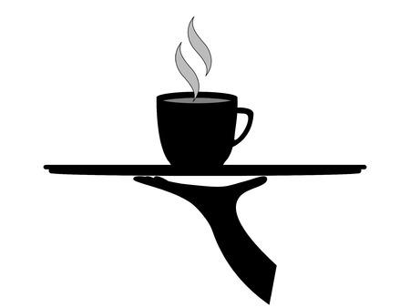 Vector Koffie (of Hot Chocolate) geserveerd op een lade in grijstinten