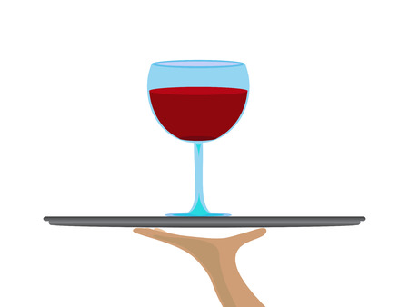 cabernet: Vector clear glass of red wine offered on a tray Illustration