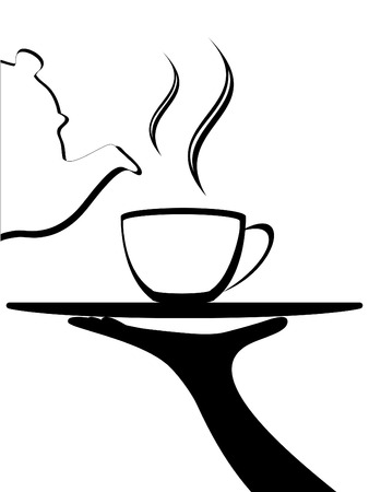 served: vector, abstract Tea or other beverage being poured from a classic pot into a cup on a tray