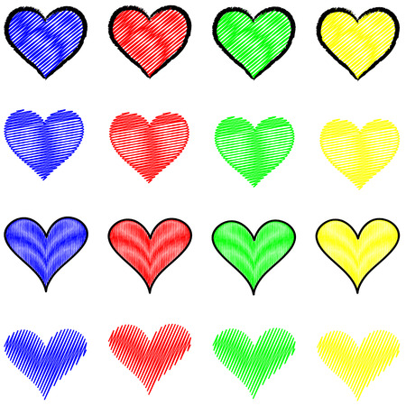 Abstract Depiction of a series of hearts in different colors and styles Vettoriali