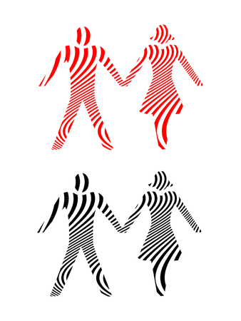 Abstract Couples Holding Hands in Black and Red