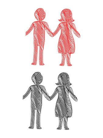 handholding: Abstract Stylized Pen Illustration of a young couple holding hands in red and black Illustration