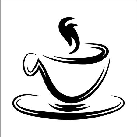Abstracte gestileerde illustratie van een stomende zwart-witte koffiemok