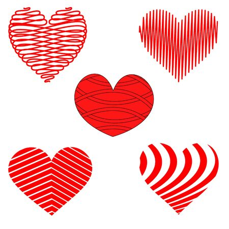 Stylized Red and White Heart Patterns Ilustrace