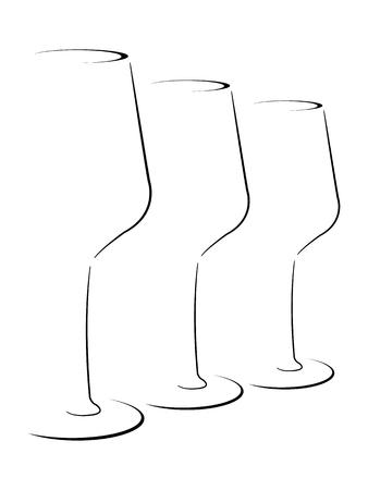 추상 양식에 일치시키는 와인 잔 세트